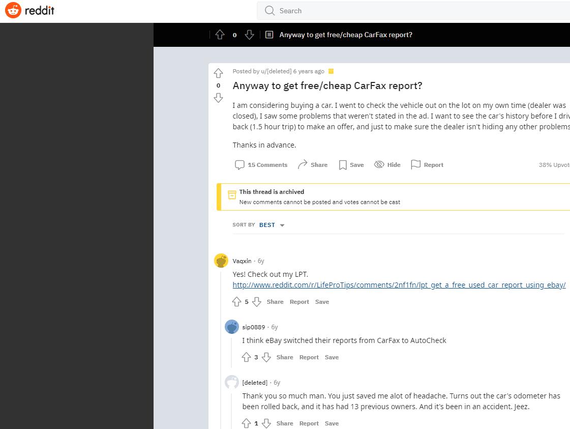 reddit cheap carfax